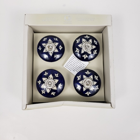 Casa Decor Set Of 4 Drawer Knobs Pulls Large Blue Nwt